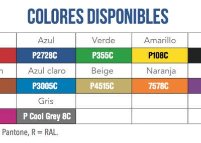 Especificaciones coquillas colores