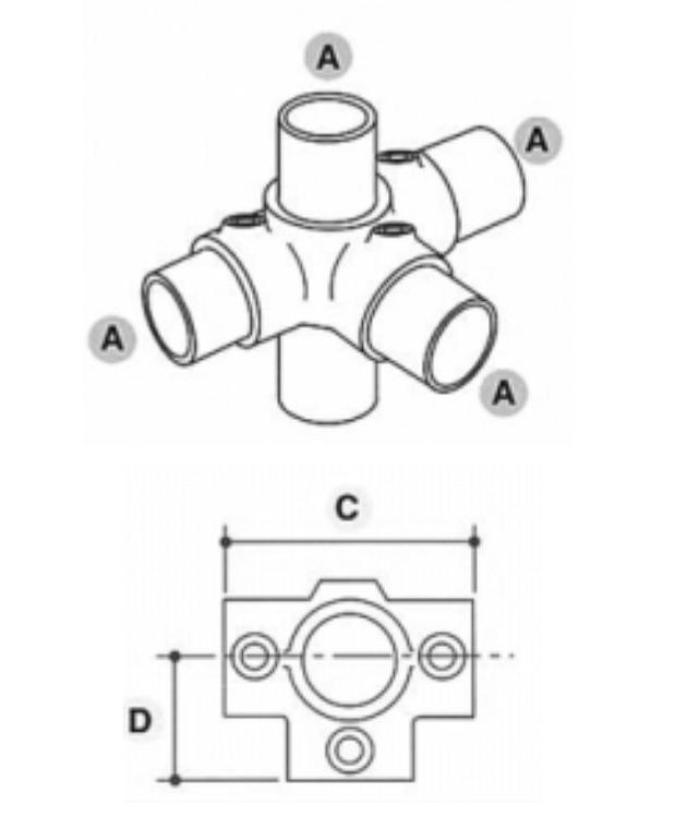 Unión de 4 tubos