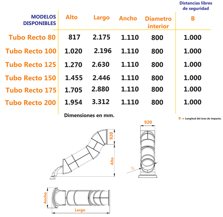 Tobogán Tubo Recto