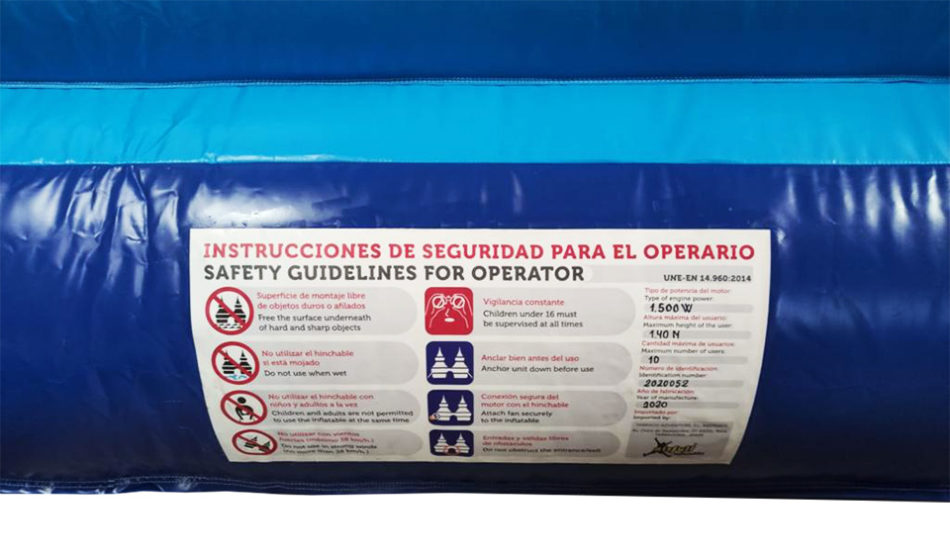 Etiqueta de seguridad para operarios de hinchables