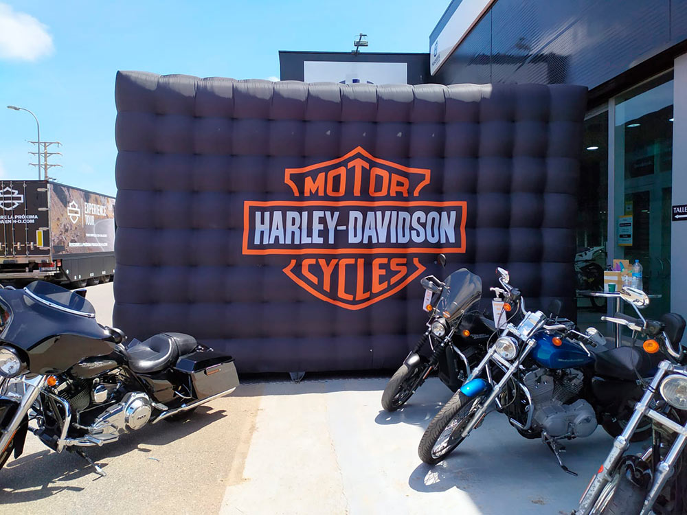 Carpa hinchable cuadrada Harley Davidson